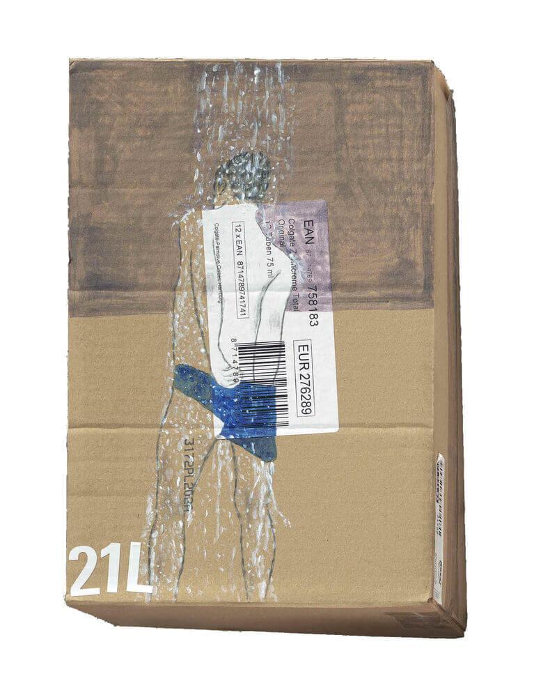2013 marker & acrylic on caton box 21X31