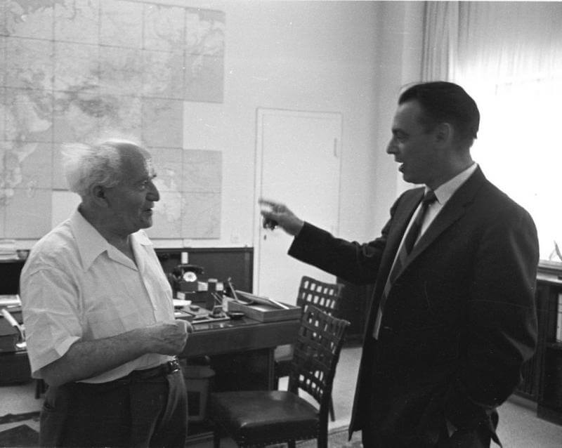 Marlin Levin TIME correspondent and former FPA chairman with Ben Gurion