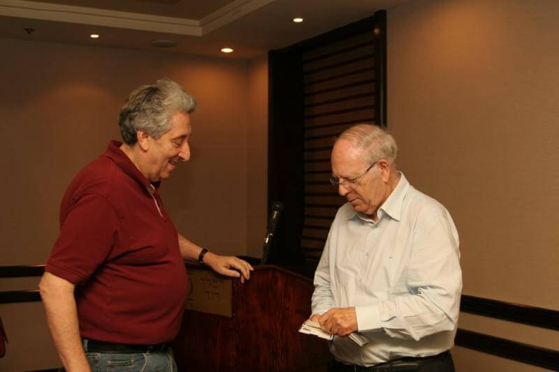Eric Silver of The Independent and former FPA Chairman with former Mossad head Efraim Halevi
