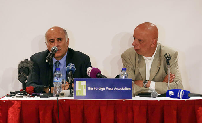 FPA presser with Jibril Rajoub, FPA Chairman Samer Shalabi in October 2014