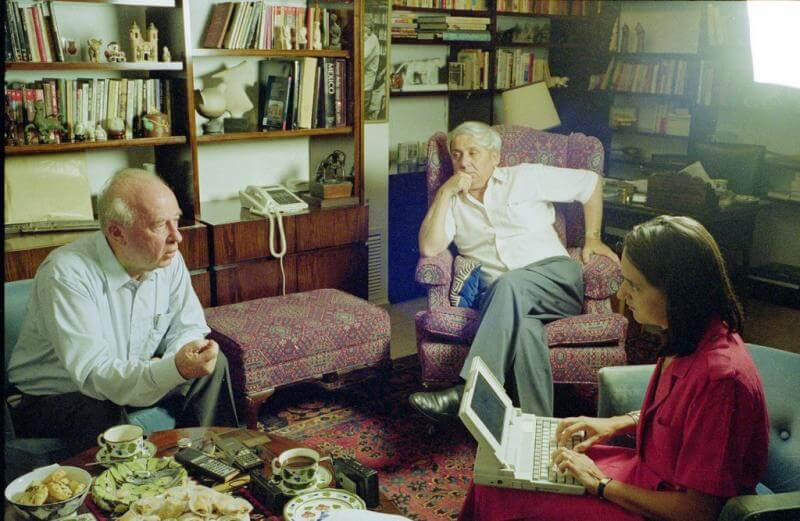 Lisa Beyer (TIME) interviews Yizhak Rabin at his home. Center Eitan Haber