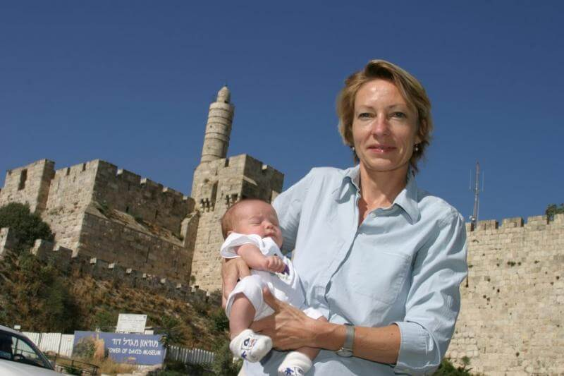 Annette Grossbongardt and baby in Jerusalem