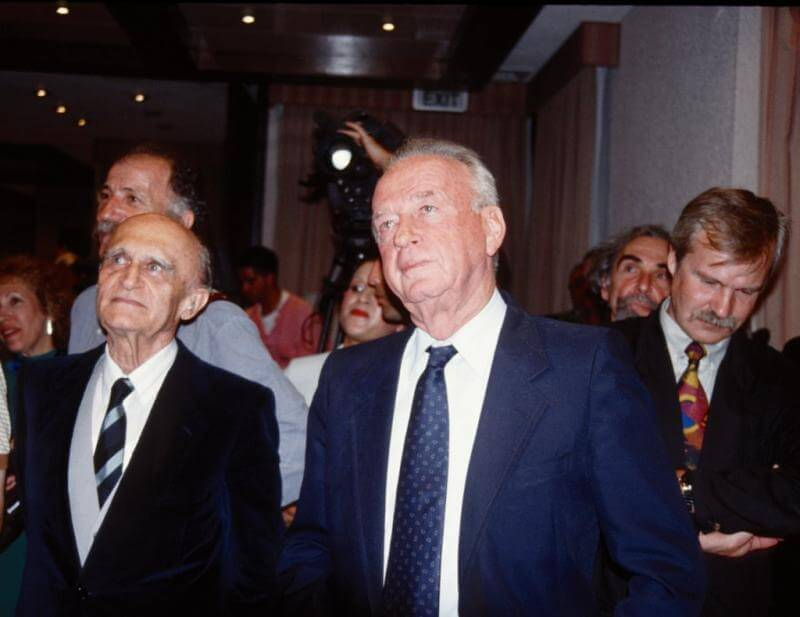 Francis Ofner, FPA founder and first chairman, with PM Yizhak Rabin
