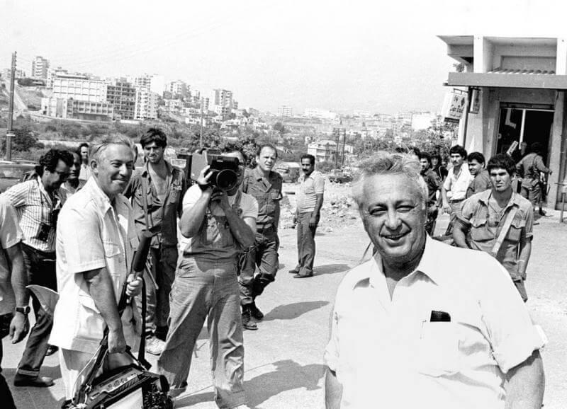 Jay Bushinsky, CNN Bureau chief at the time, with Ariel Sharon in Beirut.