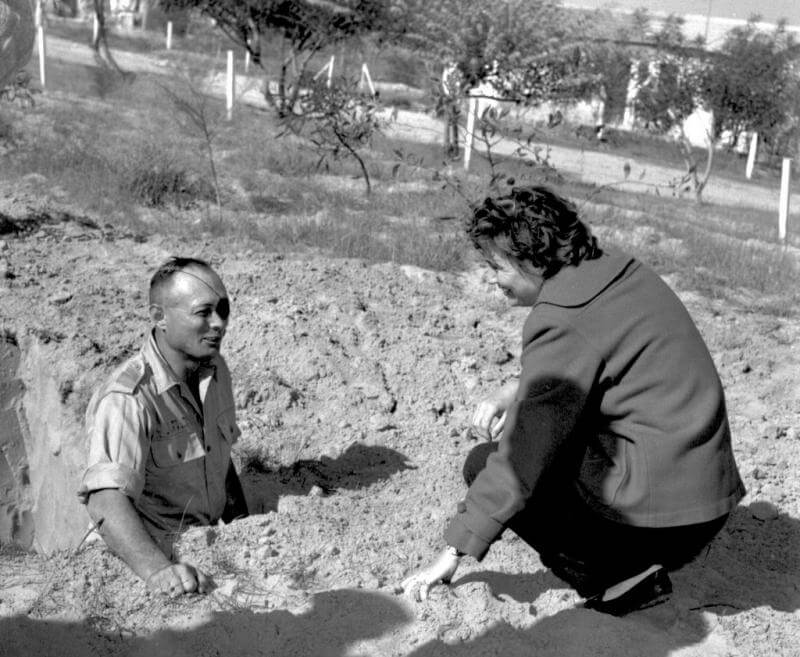 Monica Dehn, TIME/LIFE's first stringer in Israel interviews Moshe Dayan digging fortifications opposite Gaza.