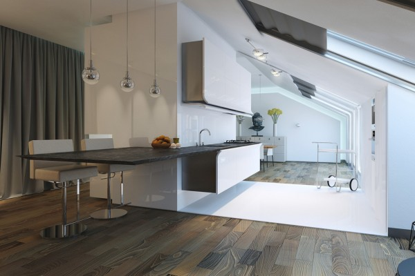 contrast color scheme this kitchen takes a contrasting color with bright white dominating the space simplicity is the key of it it has a floating